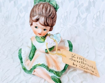 RARE Vintage 1962 Porcelain Little Sweethearts By Kelvin Figurine with ORIGINAL Tag ~ Numbered B-873 ~ Girl Sitting & Holding Flowers