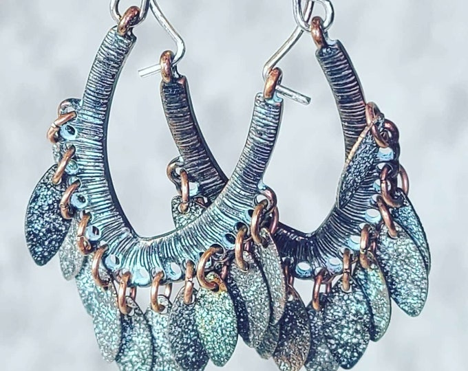 Nice Brand New Etched Copper Dangle Earrings ~ Nice Patina ~ Fringe Metal