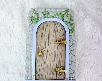 Hanging FAIRY DOOR ~ Fairy Cottage Door Plaque ~ Old English Style Faux FAERIE, Troll, Elf, Pixie Door ~ Wall / Tree Hanging Ornament Décor