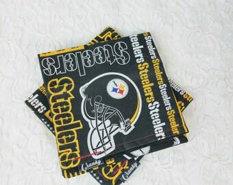"Set of Two (2) Handmade Pittsburgh Steelers Cranky Hanky ~ Pair of Handmade Handkerchief's ~ Custom Steelers Football Snot Rag 10"" x 10"""