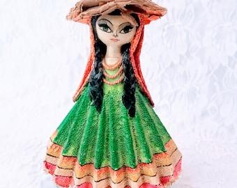 "Mexico ~ 1960s Folk Art Paper Mache Doll ~ Mexican Folk Art ~ 8.5"" Mexican Flag on Skirt ~ Souvenir of Tijuana, Mexico"