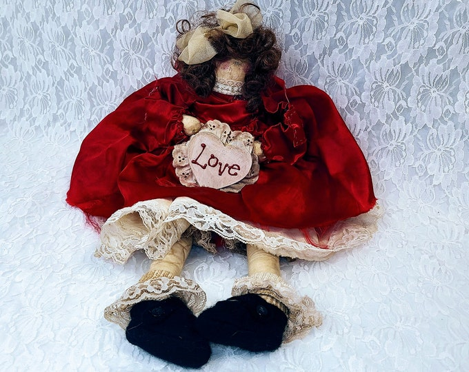 """Primitive Handmade Painted LOVE Angel 21"""" Rustic Décor Country Angels Decoration ~ Sitting Doll ~ Tea Dyed ~ Farmhouse Style"""