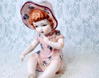 """Vintage 1950s Bisque Figurine Piano Baby ~ Transferware ~ RARE Figurine ~ Little Girl Statue Figure ~ Piano Baby Sits 6.5"""" Tall"""