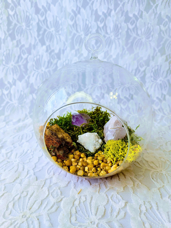 Vintage Clear Glass Hanging Crystal Terrarium Ball Amethyst Clear Quartz Candle Quartz Druzy