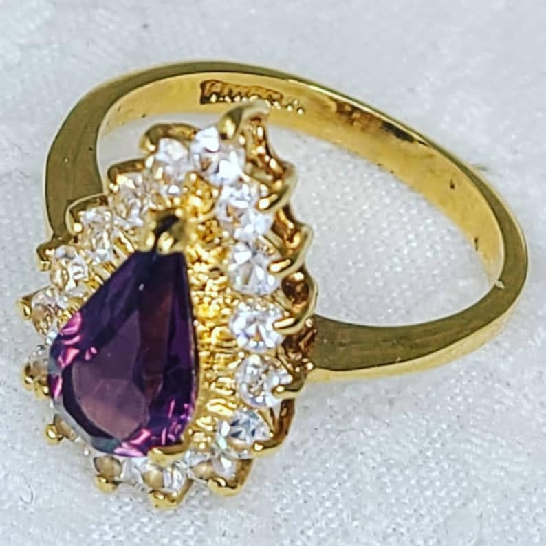 Amethyst and Rhinestone Teardrop Gold Plated Fashion Ring ~ Size 7 ~ Psychic Guidance