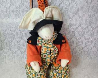 """Boutique Halloween Bunny Rabbit WITCH Primitive 1990s Halloween Décor 24"""" Cloth Hand Sewn Collectible Shelf Sitter OOAK Doll"""