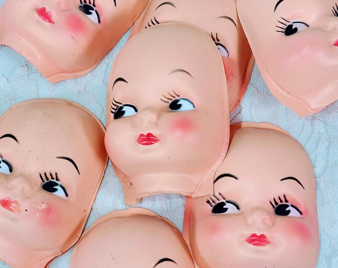 One (1) Vintage Kitschy Cute 1950s Style Face Doll Head ~ Side Eye ~ Doll Making ~ Doll Parts ~ Unmarked