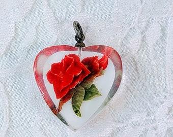 Vintage 1950's Intaglio Reverse Carved Lucite Roses Pendant ~ Beautiful Vintage Piece