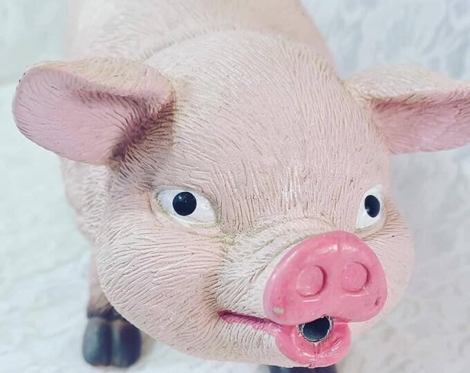 MOTION DETECTOR Kitschy Kitchen ~ Plastic Pig Piggy Piglet Figure Figurine Statue ~ Primitive ~ Rustic ~ Home