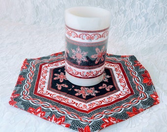 """Handmade! Small 10.75"""" Christmas Table Accent Runner with Matching Battery Candle~Classy Poinsettias Red Black ~ Unique! ~OOAK Holiday Décor"""
