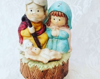 CLEARANCE Musical Bisque 1980s Christmas Nativity Scene Music ~  Collectible Music Box ~ Does not Play Music, Needs Work ~ Sold As-Is