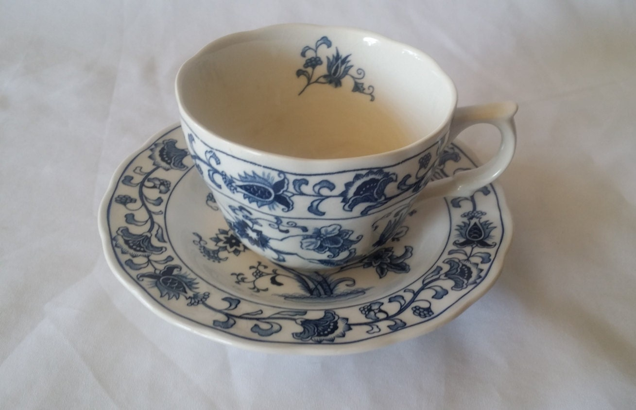 Teacup And Saucer Set Blue And White Nikko Ironstone Double