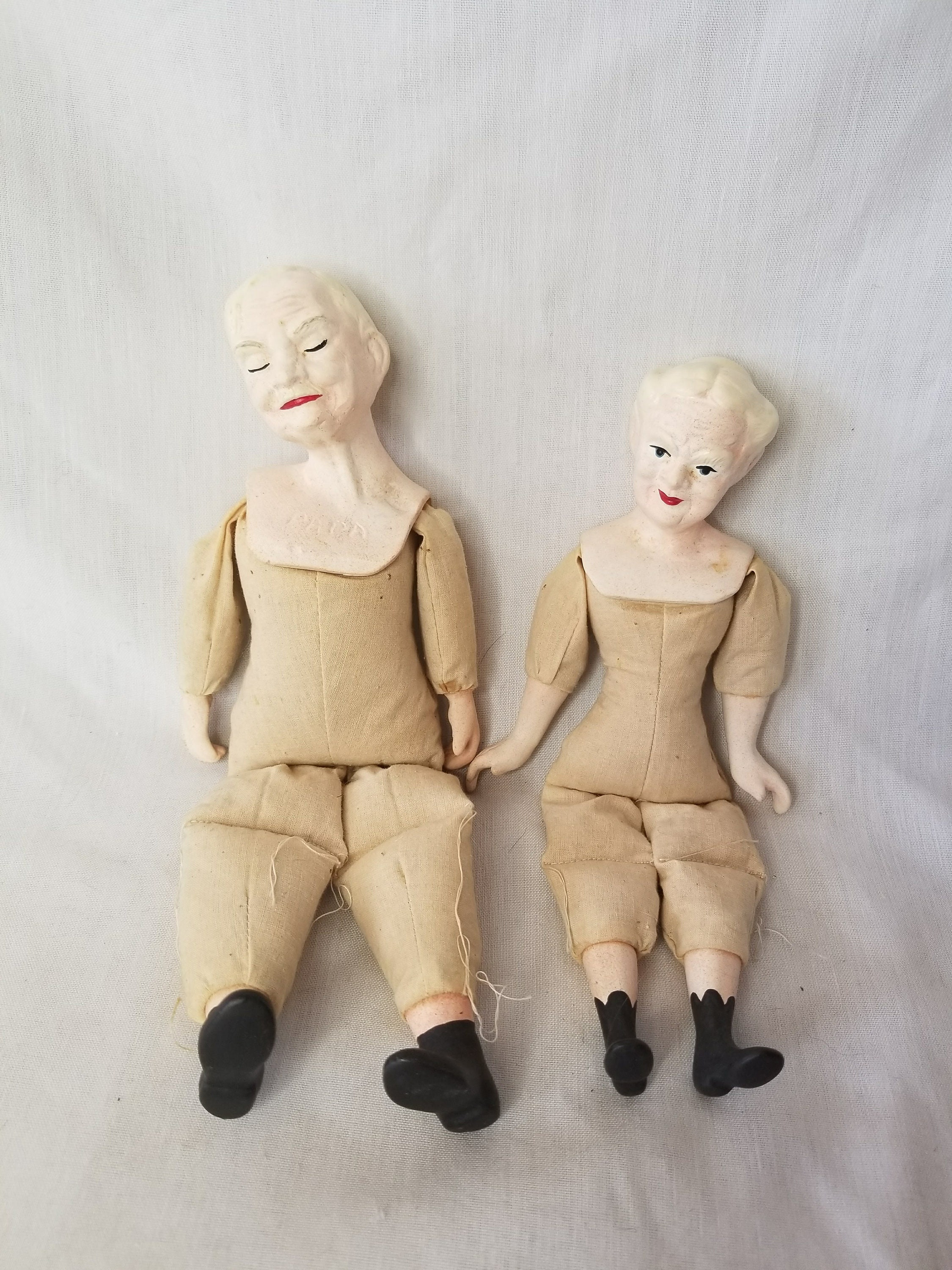 Grandma And Grandpa Ceramic Dolls To Finish For Repair Restoration
