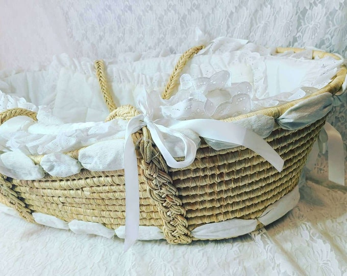 "Vintage Handmade Wicker Straw Baby Doll Cradle Crib Bassinet Basket & Handles 32"" x 18"" x 9""~ This Thing is HUGE ~ Picnic Basket Bassinet"