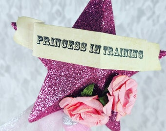 """Vintage Glitter Pink """"Princess in Training"""" Wand for Halloween, Role Playing, Cosplay, Burlesque or Just for Fun!"""
