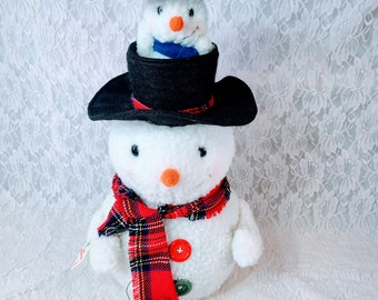 """Vintage Elco Motionette Snowman ~ Head Pops Up to Reveal Another Snowman Hiding in the Hat ~ 20"""" ~ WORKS!"""