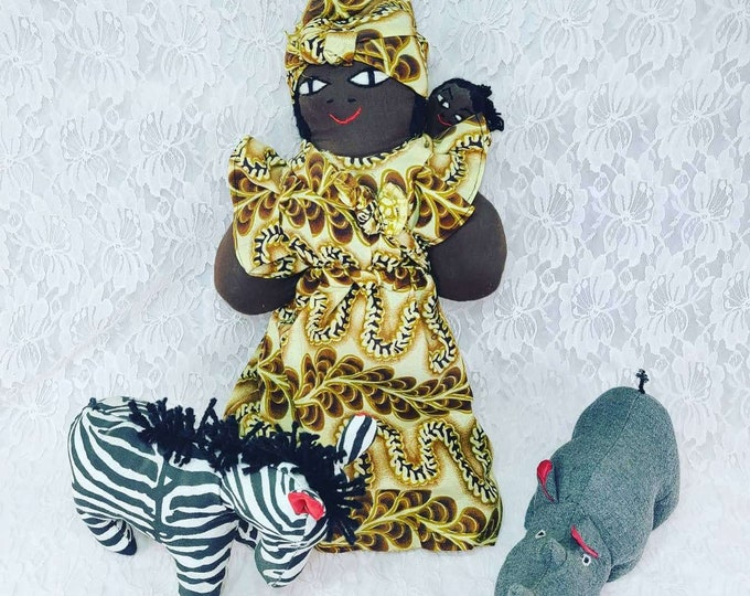 """Vintage Homemade Cloth Doll 20"""" African American Momma with Child and Rhinoceros and Zebra ~ HAND SEWN"""
