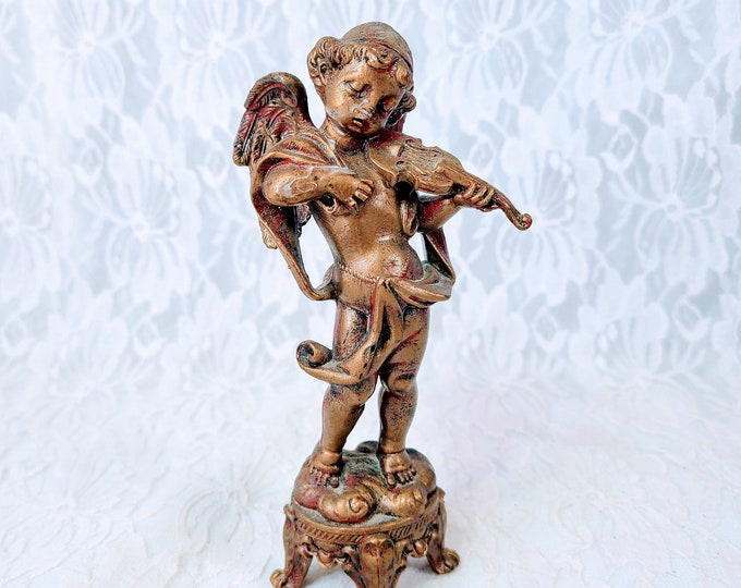 """Fontanini Style Angel Cherub Figurine ~ Made in Italy ~ 7"""" ~ Marked Depose Italy ~ PolyResin ~ Christmas Decoration Home Décor"""