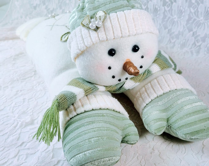 Vintage Christmas Plush Snowman ~ Winter Décor ~ Laying Position 1990s Vintage ~ Under Tree Snowman