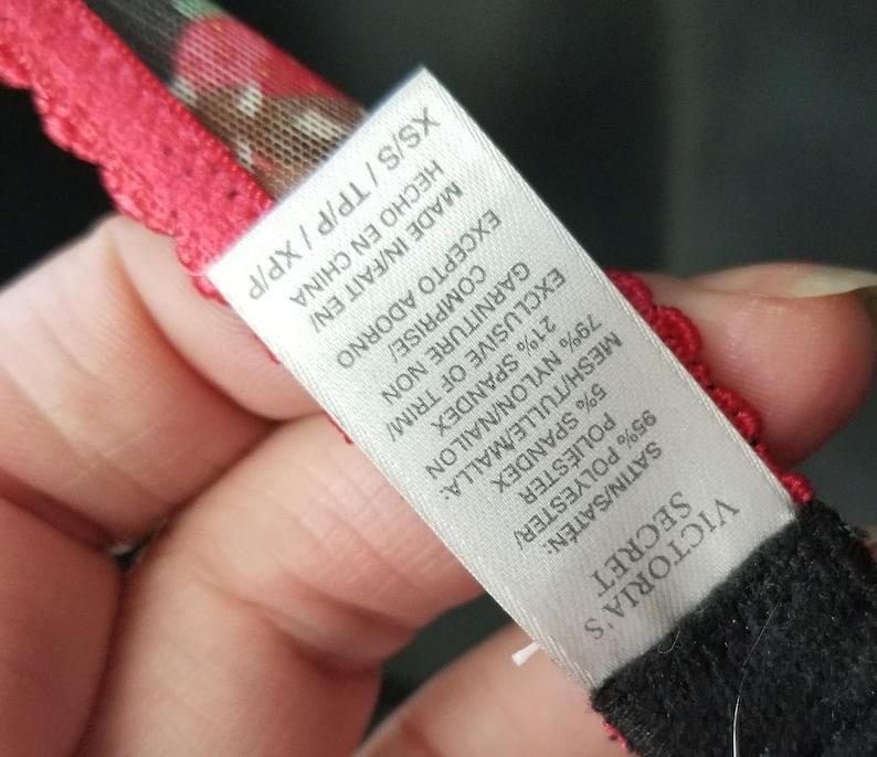 Vintage Garter Belt with Suspender Belts and Clips ~ Size XS ~ Vintage Victoria/'s Secret ~ Strawberry Delight Black ~ Corset Lace Front