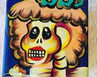 "Mexico Day of the Dead Wooden Trinket Box ~ Hand Painted ~ 4.5x4.5"" ~ Dia de los Muertos"