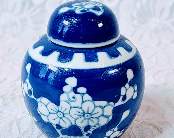 Vintage Porcelain Chinese Ginger Jar with LID ~ Asian ~ Chinese ~ Cobalt Blue and White Prunes Floral Design ~ Marked on Bottom ~ China