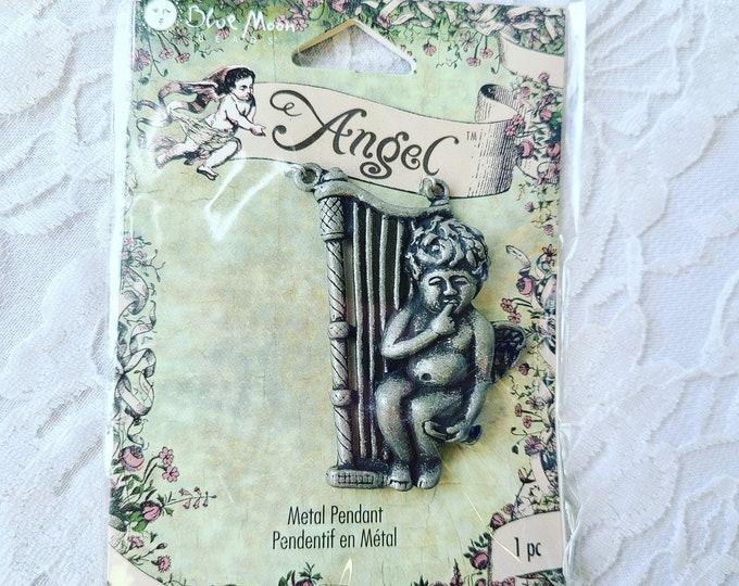 DESTASH Pack of One (1) Angel Cherub Pendant ~ Jewelry Making Supplies ~ Blue Moon ~ New In Package