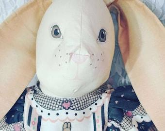 "NO Reserves Handmade 1980s 20"" Big OOAK Cloth Bunny Rabbit Hare Girl Doll ~ Grandma Style ~ Textile Rag Doll"