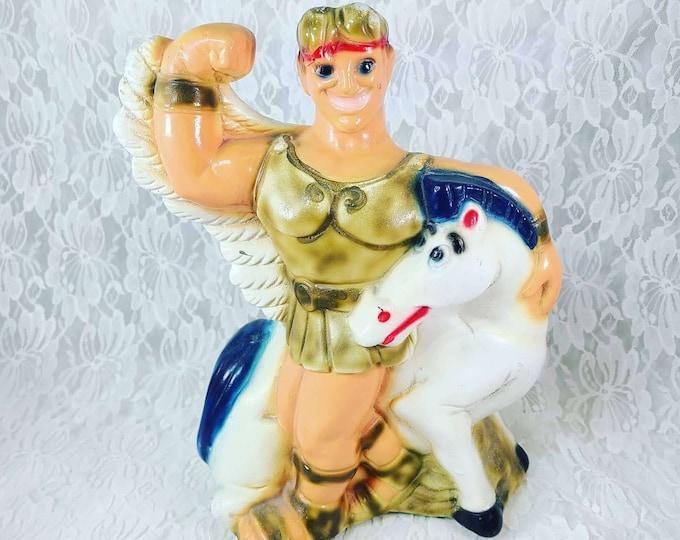 OLD Vintage Carnival Chalk Ware Hercules and Pegasus Memorabilia Rare!