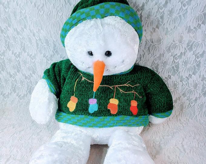 Vintage Christmas Large Sitting Dan Dee Plush Snowman ~ Winter Décor ~ Sitting Position 1990s Vintage ~ Holiday Snowman