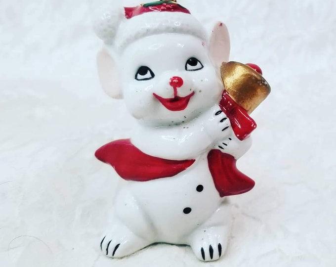 1980s Vintage Christmas Mouse Holiday Christmas Tree Ornament ~ Retro 1980s Vintage Christmas