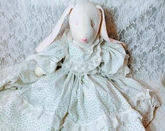 "Handmade 1980s 20"" Big OOAK Cloth Bunny Rabbit Hare Girl Doll ~ Grandma Style ~ Textile Rag Doll"