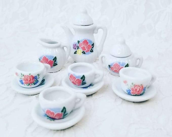 White Porcelain Doll Sized Miniature Tea Set ~ 13 piece ~ Dollhouse Miniature Tea Set ~ Collectible Tea Set 1:12 scale