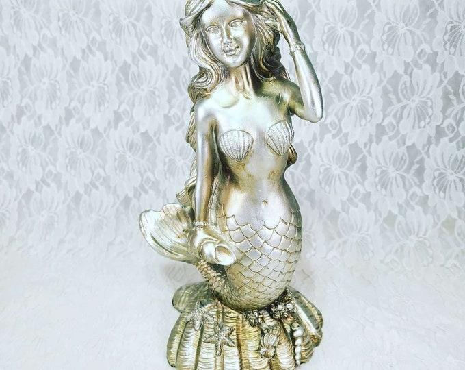 "Large Silver Mermaid Sculpture Polyresin 1990s Statue Figure Figurine ~ 11"" by 4"" ~ Mermaids ~ Siren ~ Sea Nymph"