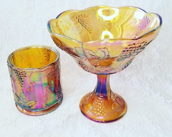 Set of 2 ~ Carnival Harvest Grape Compote Bowl and Vase Set ~ Colony Amber Marigold ~ Depression Glass ~ Carnival Glass ~ Indiana Glass