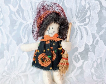 """Vintage Halloween Witchy 4"""" Brooch ~ Handmade Witch Pin ~ Jewelry ~ Halloween ~ Vintage 1990s Halloween Brooch"""