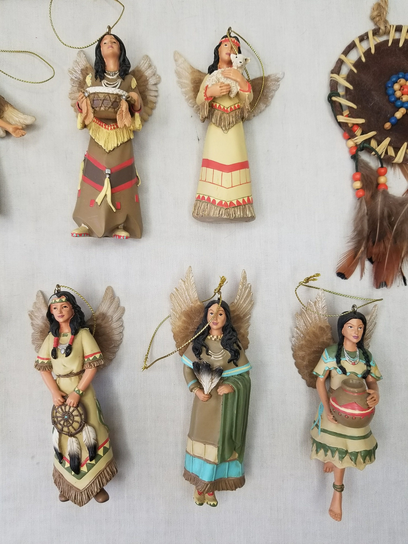 set of nine  9  vintage native american angel christmas