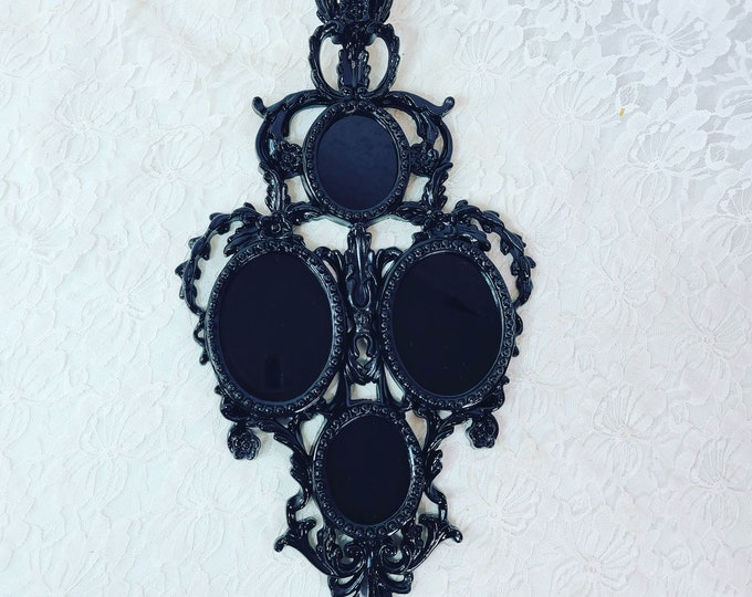 """No Reserves BIG OOAK Filigree 14x9"""" Black Glass Scrying Mirror ~ Consecrated Full Harvest Moon in September 2021~ Witchy ~ Divination Tool"""
