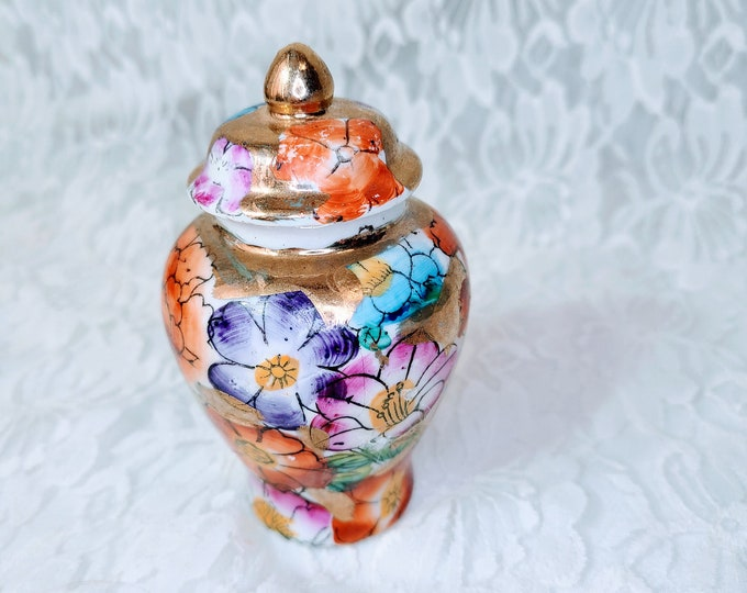 """Vintage Chinese Ginger Jar with LID ~ Asian ~ Chinese ~ Blue with Orange ~ 3"""" tall ~ Marked on Bottom ~ Made in China"""
