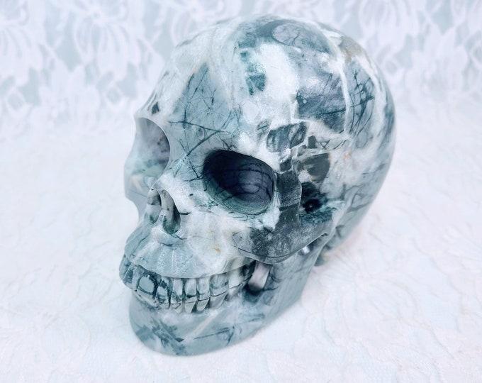 "Crystal Skull HUGE 2.15LBS Heavy Picasso Jasper Skull Energy Generator ~ HUGE Size 5.75X6.25"" ~ Blessed under the New Moon in Libra"