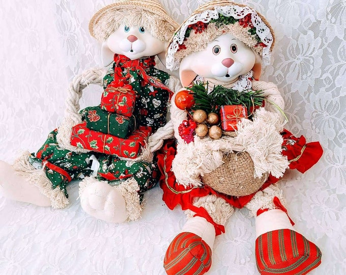 """Set of 2 Christmas 16"""" Rabbit Boy and Girl Christmas 16"""" Dolls ~ Holiday Décor ~ Christmas ~ Collectible Dolls ~ Sold as a Set"""