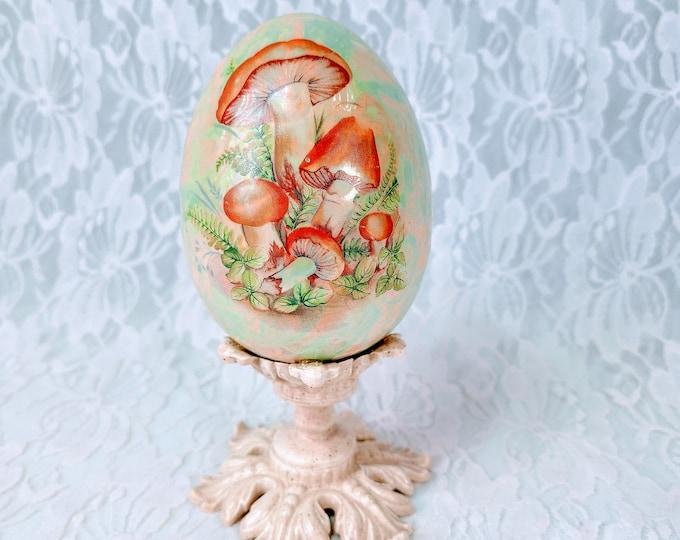 """Ceramic 1970s Pedestal Egg 6"""" ~ Hand Painted Mushrooms ~ Easter Decoration ~ Vintage Easter Egg ~ Spring Decoration ~ Springtime Décor"""