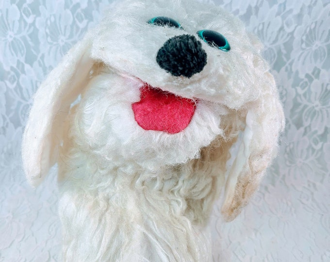 Vintage 1960s Plush Dog Hand Puppet ~ Updated Eyes ~ Felt Mouth ~ Collectible Hand Puppets ~ Unique Gift