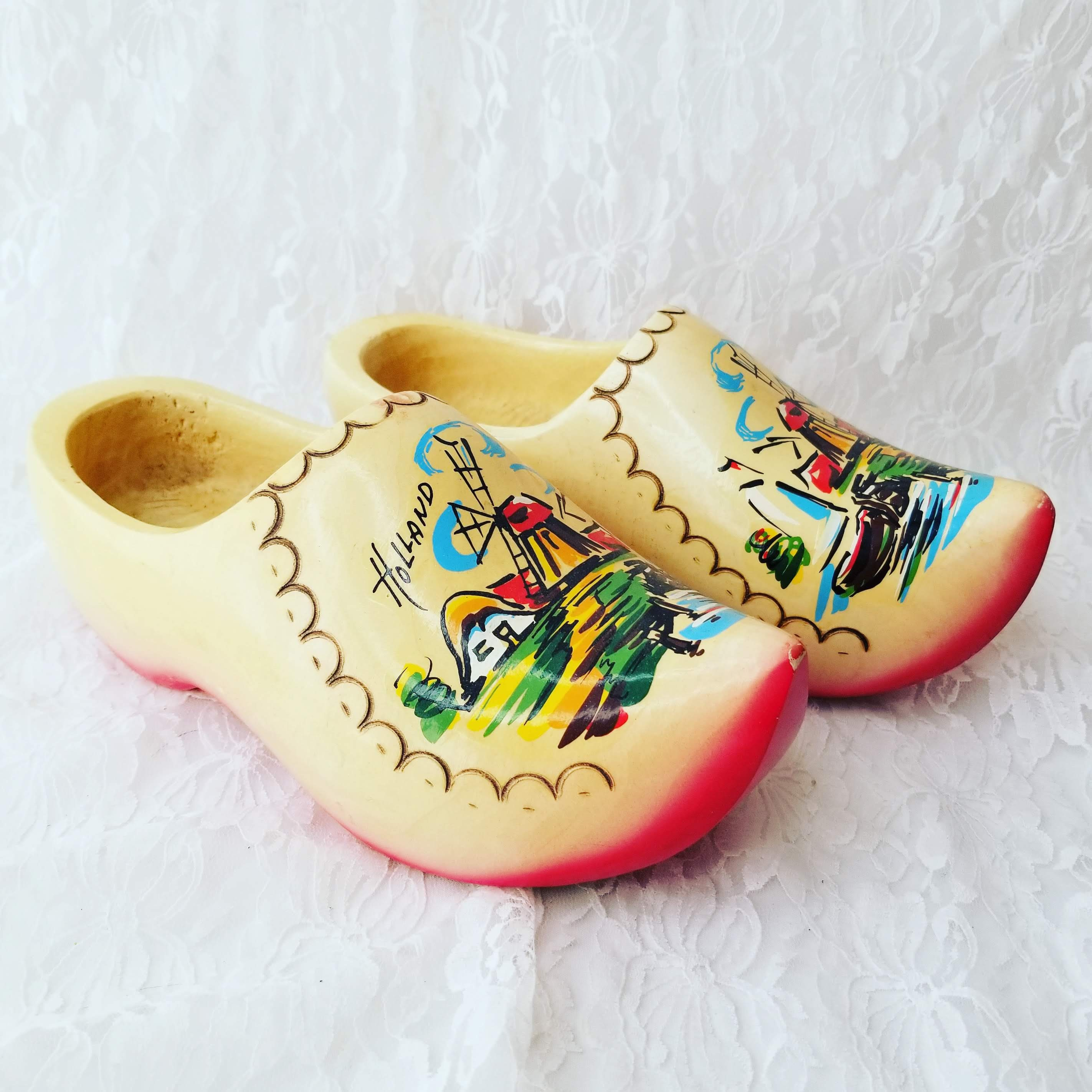 Vintage Jenora Hand Painted Carved Wooden Shoes From Holland