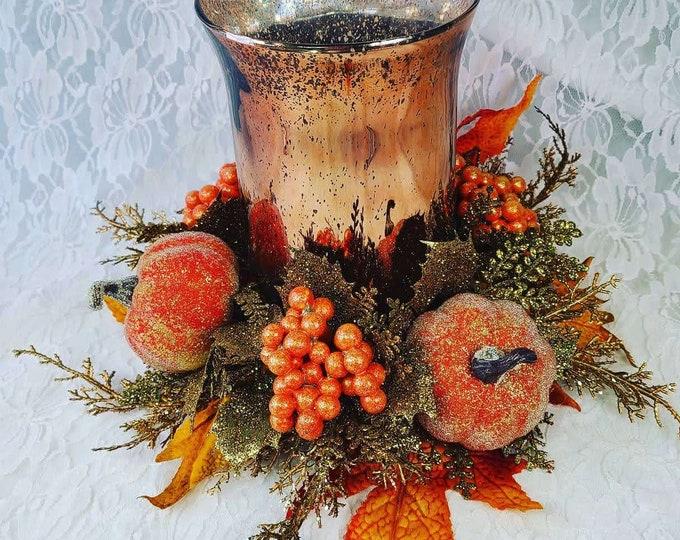"Charming 14"" Mercury Glass Candleholder with Faux Silk Flowers ~ Halloween Arrangement Centerpiece ~ Fall Décor Decorations ~ Autumn"