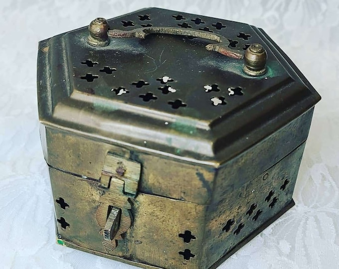 Brass Hexagon Cricket Cage Trinket Box ~ Incense Box ~ Storage ~ Spell Box ~ Herb Container ~ Hinged Box