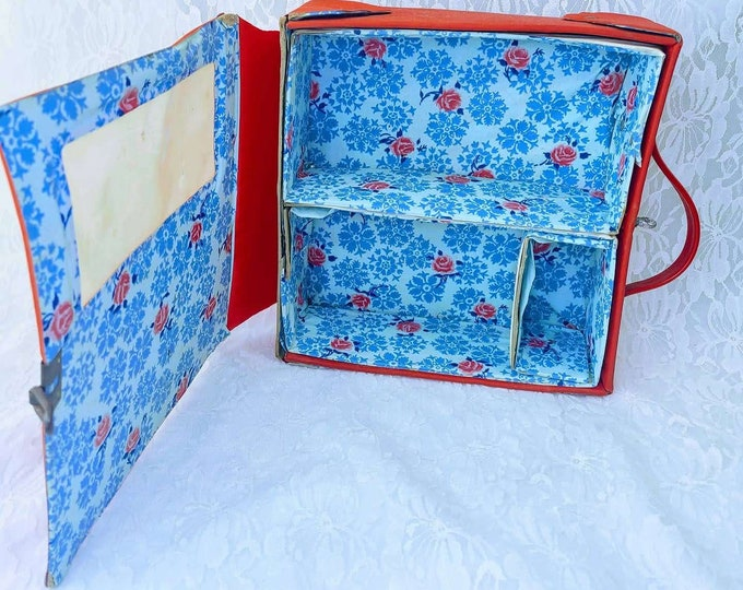 Collectible Doll Case ~ Vintage Vogue Ginny Doll Carrying Case ~ Red ~ 1960s Carrying Case ~ Armoire
