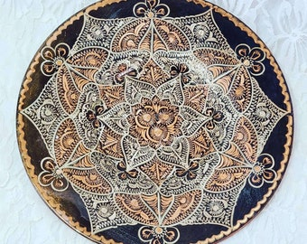"Ornate Gulistan-Erzincan Turkish Plate ~ Handmade ~ Gold Hand-Etched Copper ~ Metal Decorative ~ 8.5"" wide ~ Wall Hanging Plate"