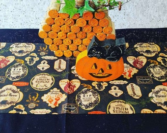 """Handmade! Long 42"""" Halloween Table Runner ~ Orange ~ Black ~ Apothecary ~ Unique ~ Quilt Style ~ OOAK Fall Decor ~ Black on the Underside"""