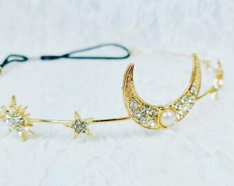 MOON Goddess Tiara Headband ~ Winter Witch Fae Crown - 16th Birthday Party - Prom Tiara ~ Halloween ~ Wedding ~ Ren Faire ~ LARP
